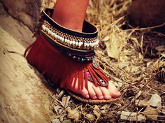 BOHO Tribal beaded Indian island festival flat FRINGED layered sandals shoes flip flops tall bohemian leather suede sandals