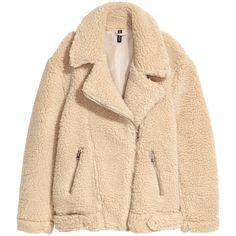 Pile Biker Jacket $69.99 (4.025 RUB) ❤ liked on Polyvore featuring outerwear, jackets, biker jacket, h&m, motorcycle jacket, zipper jacket, beige moto jacket, fleece-lined jackets and moto zip jacket