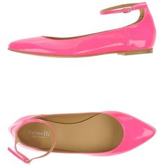 Minelli Ballet Flats ($133) ❤ liked on Polyvore featuring shoes, flats, pink, pink ballet flats, pink ballet shoes, ballet pumps, pink flat shoes and flat shoes