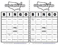 Play This 50 States Bingo Game To Review States Capitals