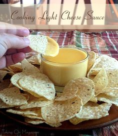 Cooking Light's Cheese Sauce   Coming in with far less calories, fat and sodium than jarred cheese sauce, Cooking Light's version still boasts smooth, rich goodness.