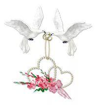 Свадьба Голуби несут сердечки и цветы новобрачным смайлик gif анимация.