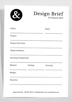Design Brief Template InDesign INDD - A4 and US Letter. Download