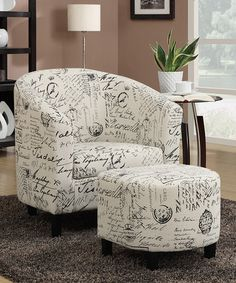 Loving this Vintage French Script Accent Chair & Ottoman on #zulily! #zulilyfinds $174.99