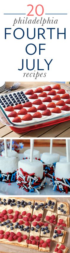 20 Philadelphia Cream Cheese Fourth of July recipes // from burgers to red, white and blue treats