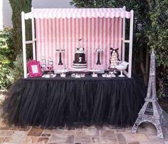 Black Tutu Table Skirt by SweetJellyParties on Etsy