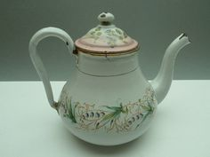 Vintage French Enamel Tea Pot very old with by LeMoulinBleu, $68.00