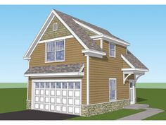 ePlans Craftsman House Plan – Craftsman 2-Car Garage and Studio Apartment– 482 Square Feet and 1 Bedroom from ePlans – House Plan Code HWEPL75840