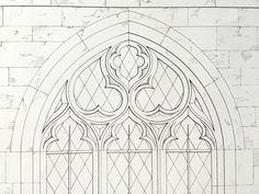 1849 Large Antique Medieval Architectural Drawing of Details from St. Peter's in Threekingham, Lincolnshire. Plate 1 - Medieval Architecture