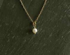 Sapphire Pearl Necklace, single pearl solitaire, freshwater white pearl, real genuine blue sapphire  https://www.etsy.com/shop/bluegreenjewels