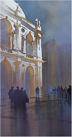 Palladian Image - Vicenza by Thomas W. Schaller Watercolor ~ 22 inches x 12 inches
