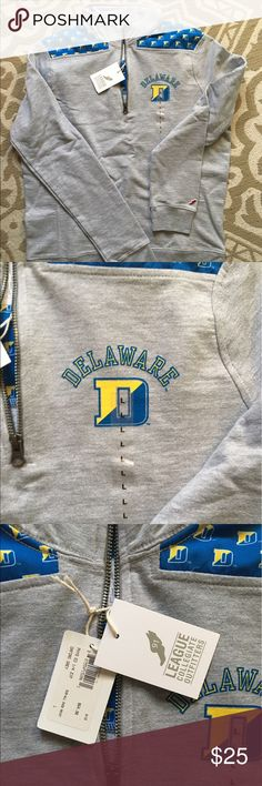 NWT university of Delaware 1/4 jersey sweatshirt Brand new! University of Delaware 1/4 zip jersey grey colored sweatshirt. featured U of D logo. Women's size large Tops Sweatshirts & Hoodies