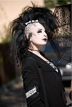 can be found on fb page: Gothic pictures and Side Shave Design, Goth Makeup Tutorial, Urban Tribes, Skinny Puppy, Goth Hair, Gothic Hairstyles, Vampire Queen, Goth Look, Spiritual Gangster