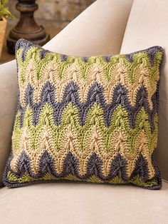 Bargello Pillow ~ reminiscent of needlepoint ~ use increases and decreases in double crochet to shape the pattern ~ written instructions only ~ intermediate level ~ CROCHET ~ it's a beauty - great colour combo!