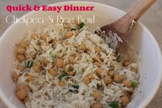 Chickpea & Rice Bowl Recipe (with printable recipe card! Quick Easy Dinner, Easy Dinner Recipes, Printable Recipe Cards, Rice Bowls, Posts, Eat, Blog, Easy Dinner Recipies, Messages