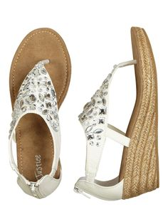 "Jeweled Wedges with a 2"" heel. Very Cute, although the heel may be a bit high for my 8 year old!"