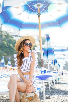 blue beach umbrellas, positano, amalfi coast, what to wear on the 4th of july, summer outfit inspiration, summer outfit idea, italy 4th Of July Outfits, Summer Outfits, Summer Dresses, Beach Babe, Blue Beach, Coast Style, Italy Outfits, Vacation Outfits, Travel Outfits