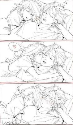 Cute Drawings Of Love, Bff Drawings, Anime Couples Drawings, Anime Couples Manga, Couple Drawings, Anime Couple Kiss, Manga Couple, Anime Kiss, Cat Anime