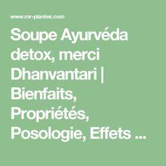 Soupe Ayurvéda detox, merci Dhanvantari   Bienfaits, Propriétés, Posologie, Effets Secondaires