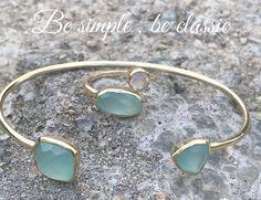 Bracelet Jonc femmme or  deux aqua calcite facettées hyppie chic