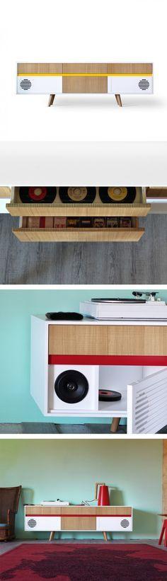 Design Highboard SPACY weiss Hochglanz und Eiche 4 Türen Schrank - wohnzimmermobel weis