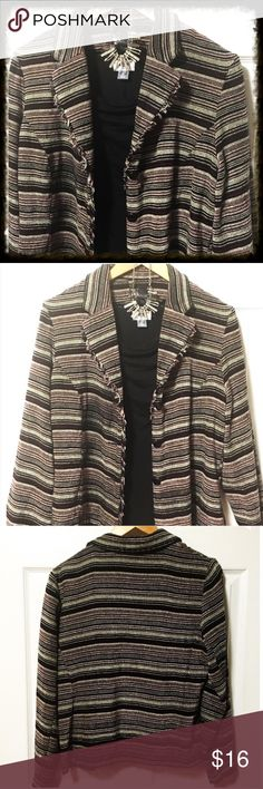 Soft Patterned Frayed Edge Jacket Pretty blazer has 3 buttons. Colors of jacket are Black, burgundy, and tan. Frayed edges on front placket.  Machine wash. Line dry. 100% acrylic. Very soft fabric. In excellent condition. Chest measures 20 inches across from armpit to armpit. Length measures 23.5 inches. Jackets & Coats