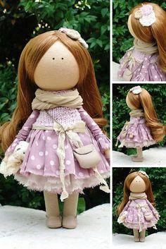Fabric doll handmade Tilda doll Rag doll Baby doll brown colors soft doll Cloth…