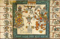 Codex Borbonicus (1507 A.D.). Ancient Aztec documents.