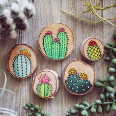 Set of Five Hand-Painted Cactus Decorative Magnets on Wood Curated by Scout Smith on Etsy Updates from walrusandtoad on Etsy Rub off transfers? Wood Slice Crafts, Wood Burning Crafts, Wood Burning Art, Rock Crafts, Diy And Crafts, Kids Crafts, Arts And Crafts, Cactus Craft, Cactus Decor