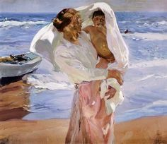 Joaquin Sorolla y Bastida Solid-Faced Canvas Print Wall Art Print entitled After the Bath