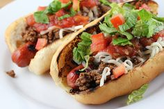 Kids love-Taco Dogs! These beef hot dogs are topped with taco meat, cheese, salsa, lettuce, and tomato. You can add additional ingredients as well such a guacamole and sour cream. You can cook the hot dogs how ever you prefer but we all know grilling them tastes the best.