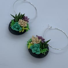 Succulent bowl earrings polymer clay – Leafy Originals