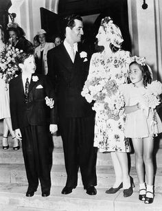 Norma Shearer with her children and 2nd husband Martin Arrouge | Famous Brides & Grooms