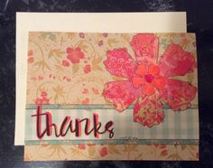 Floral Thank You card entered in pinterestinspiredchallengeblogspot.com April Challenge and simonsaysstampblog.com May Flowers Challenge. Used Dylusions inks to make colored paper and used some scrapbooking paper I had. Die cut flowers using Tim Holtz Tattered Florals die. Used regular hole punch for center of flowers. Used Simon Says Stamp word die. Glued all to ivory card. Outlined all with Pitt pen.