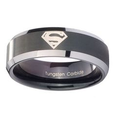 Superman Tungsten Carbide Laser Black Two Tone Engraved Wedding Band Ring ( 5mm Sz 4 to 9, 8mm, 10mm Sz 7 to 14 )