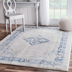 Traditional Vintage Centerpiece Light Blue Area Rugs, 4 Feet by 6 Feet (4' x 6') - $60.48@ Amazon - Style: Transitional, Traditional - White, Cream, Blue, Shabby, Popular