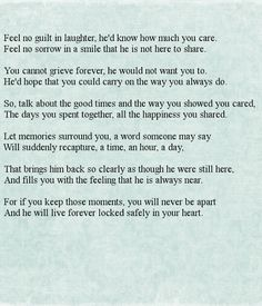 """""""Feel No Guilt In Laughter"""" - Great Lakes… Funeral Verses, Funeral Quotes, Funeral Prayers, Funny Funeral Poems, Funeral Songs, Funeral Readings, Readings For Funerals, Goodbye Poem, Poem About Death"""