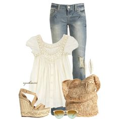 Jeans, peasant top & wedges
