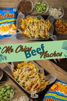 Mr Chips Beef Nachos A Pinoy Recipe. Nachos are Made of Nacho Chips or Tortilla Chips with Ground Beef or Meat, Tomato, Cucumber , Onion Nacho Chips, Tortilla Chips, Chicken Pasta Recipes, Pesto Chicken, Beef Nachos, Pinoy Recipe, Cheese Whiz, Hamburger Dishes, Chipped Beef