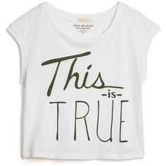 True Religion This Is True Muscle T-Shirt ($39) ❤ liked on Polyvore featuring tops, t-shirts, shirts, crop tops, white, sleeveless shirts, cotton t shirt, crop top, white crop top and jersey shirts