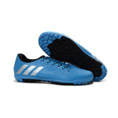 Nouveau Adidas Messi 16-3 TF Chaussures de football Bleu Argent