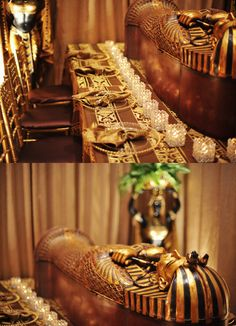 Egyptian Table Setting. I love the china and crystal and flatware....not so much the coffin on the table... That is distractingly 'morbid'.....