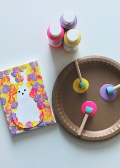 DIY Kids Peeps Bunny Canvas Art - This Sweet Happy Life DIY Kids Peeps Bunny Canvas Art - This Sweet Happy Life<br> Step by step instructions for a kids diy canvas featuring a brightly colored Peeps bunny, perfect for celebrating Easter or Spring. Toddler Crafts, Preschool Crafts, Fun Crafts, Arts And Crafts, Nature Crafts, Easter Art, Easter Crafts, Easter Bunny, Diy Halloween Decorations