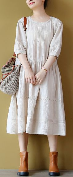 stylish nude  clothing wrinkled cotton dresses boutique hollow out gown