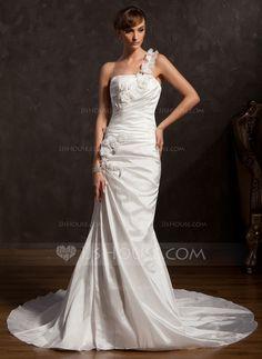 Wedding Dresses - $189.99 - Trumpet/Mermaid One-Shoulder Chapel Train Taffeta Wedding Dress With Ruffle Lace Flower(s) (002015177) http://jjshouse.com/Trumpet-Mermaid-One-Shoulder-Chapel-Train-Taffeta-Wedding-Dress-With-Ruffle-Lace-Flower-S-002015177-g15177