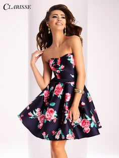 Clarisse Short Floral 2017 prom Dress 3028. This strapless prom or homecoming dress has a pretty rose print. | Promgirl.net