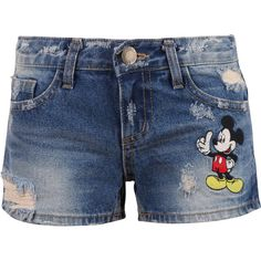 Disney Vintage Distressed Washed Cotton Denim LOVE Mickey Mouse Summer... (£37) ❤ liked on Polyvore