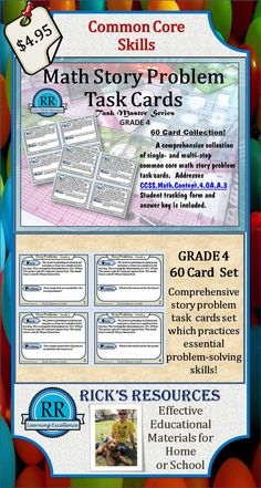 A comprehensive set of 60 math story problem task cards which is aligned with CCSS.Math.Content.4.OA.A.3.  Great for group or individual review and skills reinforcement.  Student tracking sheet and answer keys are included. Grade 4, but can be adapted for grades 3 and 5.