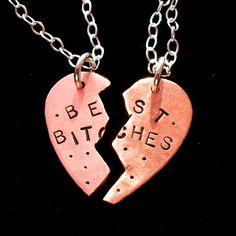 BEST BITCHES--Hand Stamped SPLIT Copper Heart Oxidized Necklaces BEST FRIENDS--TWO Necklaces. $72.00, via Etsy.