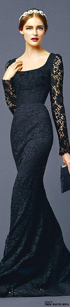Dolce & Gabbana Spring/Summer 2014     jaglady - Romantic sleeves, sleek and long, elegant in black. Beautifuls.com Members VIP Fashion Club 40-80% Off Luxury Fashion Brands